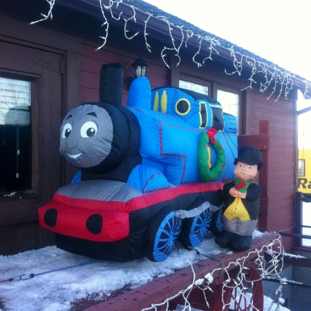 Thomas the Tank Engine welcomed visitors to the museum from the porch.